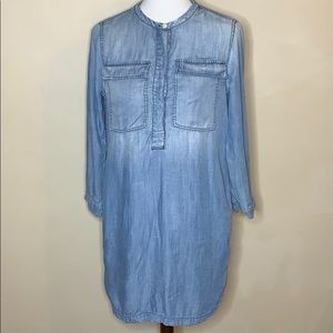 J. Crew Patch Pocket Chambray Denim Dress